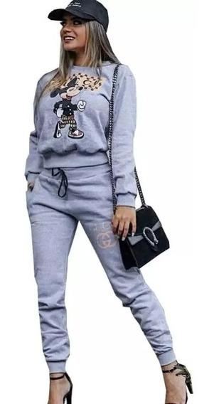 Conjunto Moletom Feminino Calça E Blusa Casaco De Frio