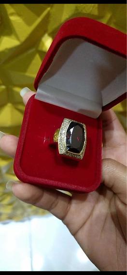 Anel De Ouro Amarelo 18k Com Diamantes E Rubelita Central.