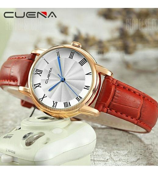 Relógio Feminino Pulseira De Couro Vermelho Cuena 9001