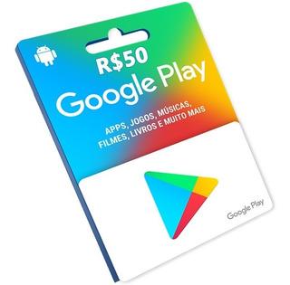 Cartão Google Play Brasil R$50 Reais Jogos, Músicas E Etc
