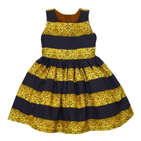 Vestido Queen Bee Listrado Fantasia Infantil Lol