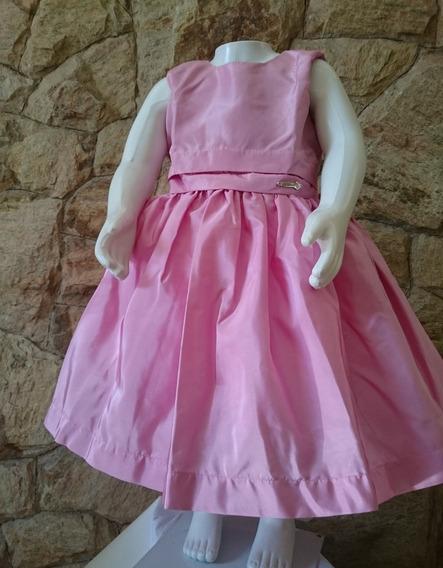 Vestido Infantil Festa Casamento Luxo Em Tafetá Rosa