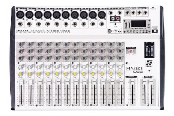 Mesa De Som 12 Canais Staner Usb/fm E Bluetooth Mx-1203 Usb