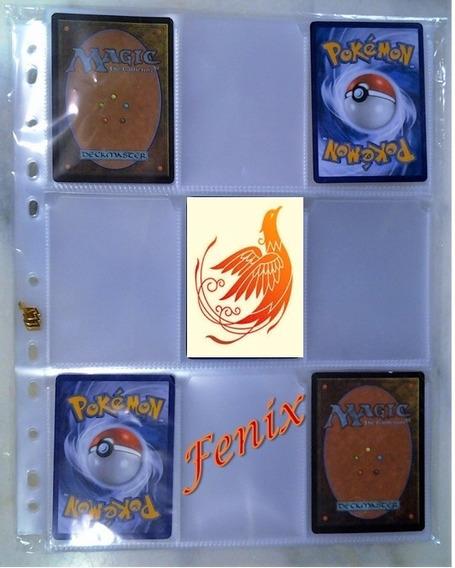 10 Folhas Plástica P/ Pasta Fichário Álbum Pokemon + 6 Cards