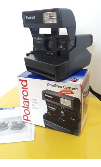 Câmera Fotográfica Antiga Polaroid One Step Na Caixa