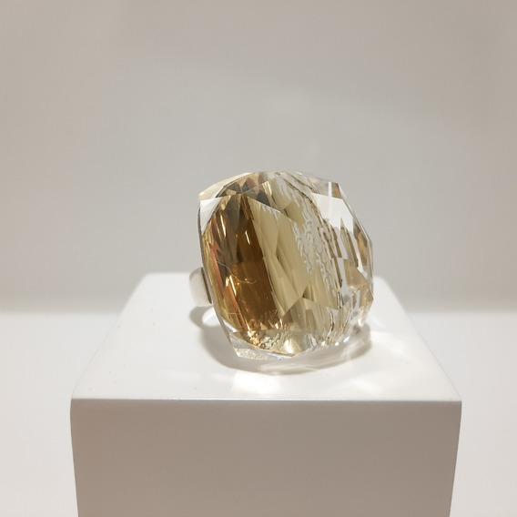 Anel Prata 950 Cristal (pedra Natural)