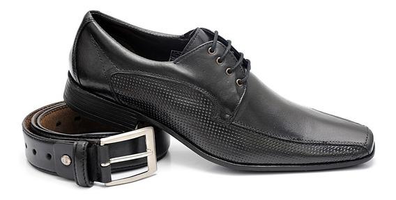 Sapato Social Branco Couro Legítimo Costurado + Cinto Couro