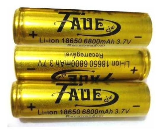 Kit 3 Baterias Taue 18650 6800mah 3.7v Li-ion Recarregável