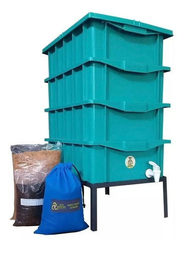 Kit Compostagem Composteira 15 Verde  Com Minhocas E Suporte