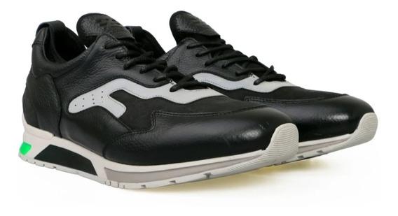 Tenis Negro Sneaker Sabatter De Piel Con Suela Blanca