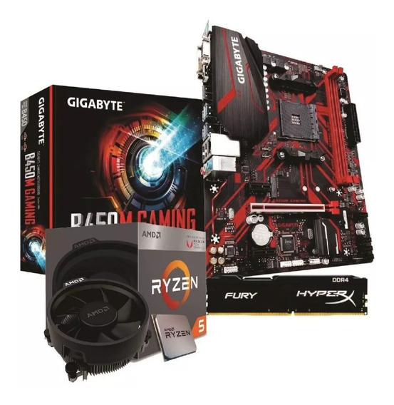 Kit Amd Ryzen 5 2600x Mb B450mg Gigabyte 8gb Hyper X