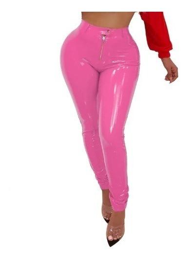 Sexy Pantalon De Cuero Pu De Cintura Alta Con Cierre Unicos
