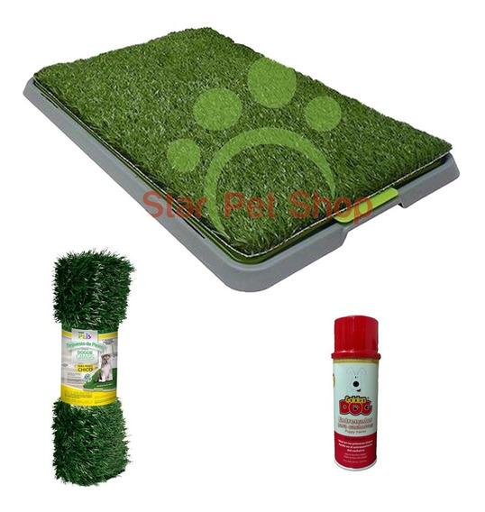 Tapete Toilet Doggie Grass 68x43 + Repuesto Y Atrayente