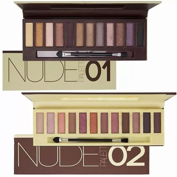Kit 2 Paletas 24 Sombras Vivai Nude Maquiagem Pincel Nake