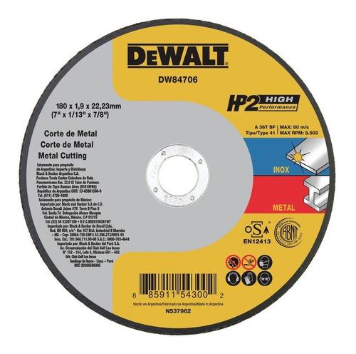Imagem 1 de 3 de Disco Corte Inox Hp2 7  X 1,9mm X 7/8  Dewalt Dw84706