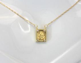 Lindo Escapulário Com Zircônios Em Ouro 18k - D699