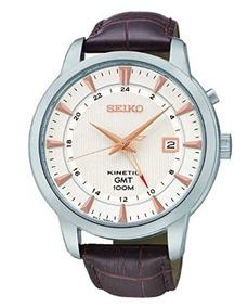 Relógio Seiko Kinetic Masculino Branco/marrom Couro Gmt