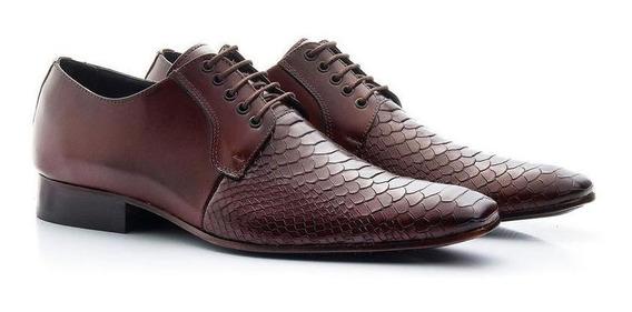 Sapato Social Atron Shoes Escamado 306 Café