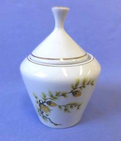 Açucareiro Porcelana Pozzani - Detalhes Em Dourado