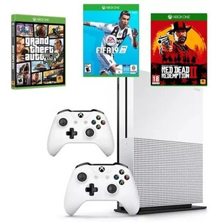 Xbox One Slim 2 Controles, Fifa 19, Gta V Y Red Redemption 2