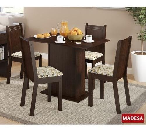 Conjunto Mesa De Jantar 5329 Lexy Madesa Com 4 Cadeiras 4290