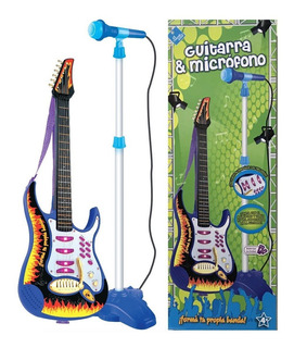 Guitarra Rockera Con Microfono De Pie Original 6317 Bigshop