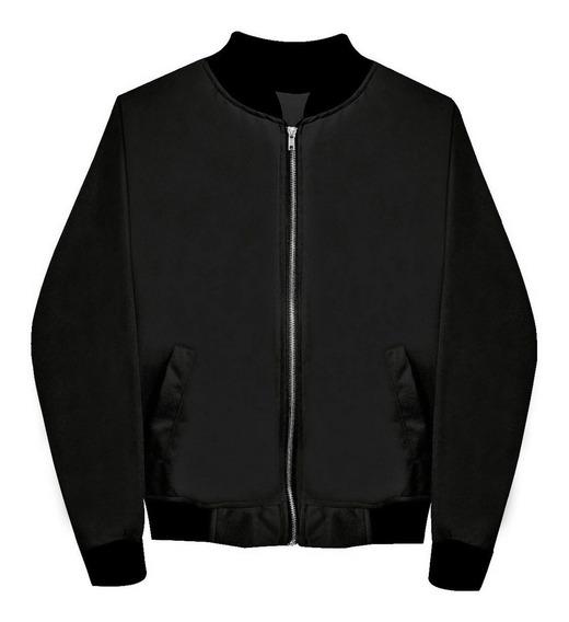 Chamarra Bomber Jacket Con Cierre Negra Envío Gratis Hombre