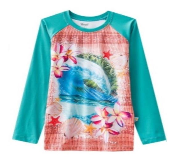Camisa Proteção Sol Infantil Verde Moana Um Mar Aventuras