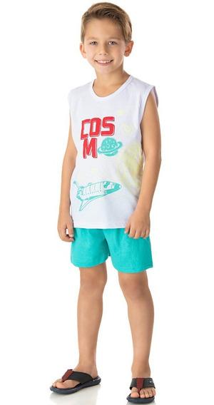 Pijama Infantil Menino Conjunto Camiseta Machão E Short