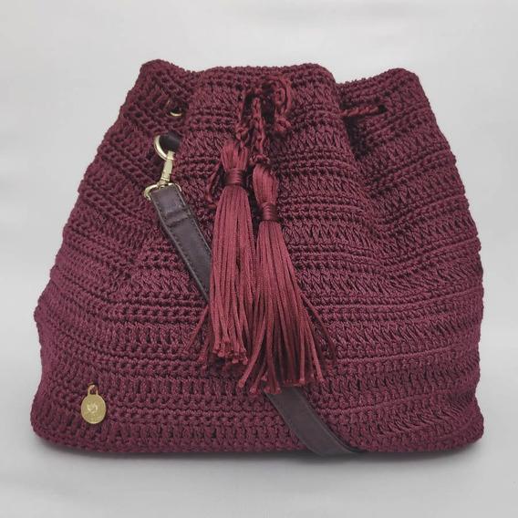 Bolsa Bucket Marsala Com Alça Em Couro Feito A Mão Em Crochê