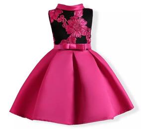Vestido Negro Rosa Fiusha Moda Asiatica