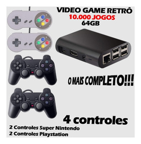 Video Game Retrô 10.000 Jogos + 64gb + 4 Controles