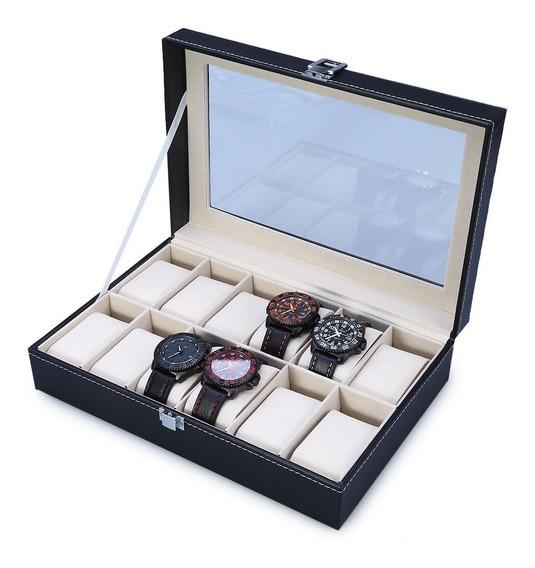 Caja Exhibidora Para 12 Relojes / Joyas, Cristal Cuero