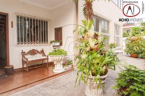 Imagem 1 de 30 de Casa Residencial À Venda, Independente, A 4 Quadras Da Praia, Piscina, 5 Dormitórios, 4 Vagas, Embaré, Santos - Ca1303