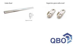 Kit Caño Oval Para Placard X 1.5 M + 2 Soportes - Armario