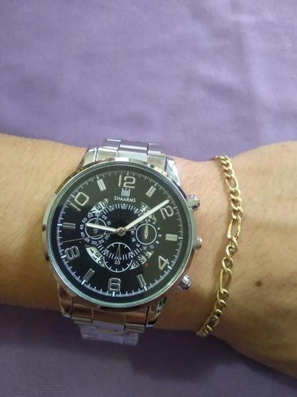 Relógio Masculino De Pulso Shaarms Prata E Black