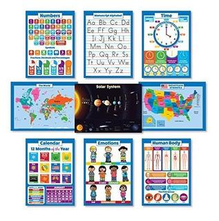 9 Laminados Carteles De Pared Educativos Para Niños Sistema