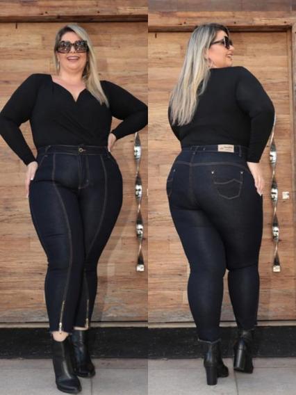 Calça Jeans Plus Size Feminina Moda Cintura Alta + Brinde