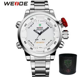 Relógio Masculino Original Prata Anadigi Weide Casual W 2309