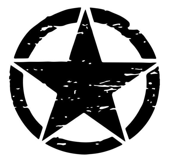 Par De Adesivos Estrela Militar Corroída 15x15cm