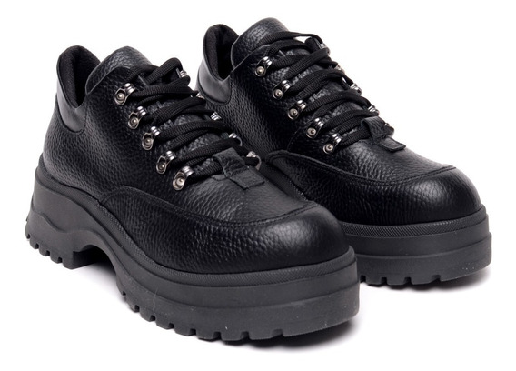 Zapatos Mujer Cuero Abotinados Cordones Plataforma Goma Baja Heben Calzados