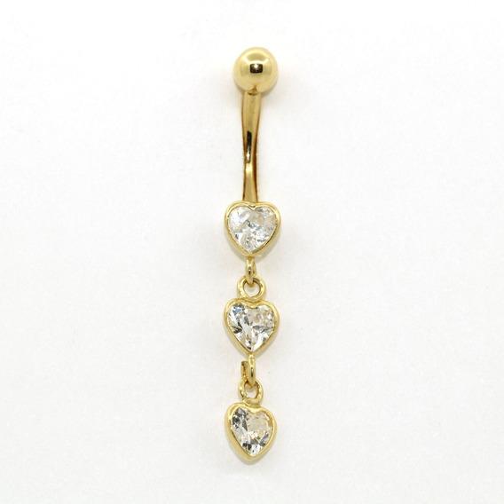 Piercing De Umbigo Ouro 18k (750) Três Corações