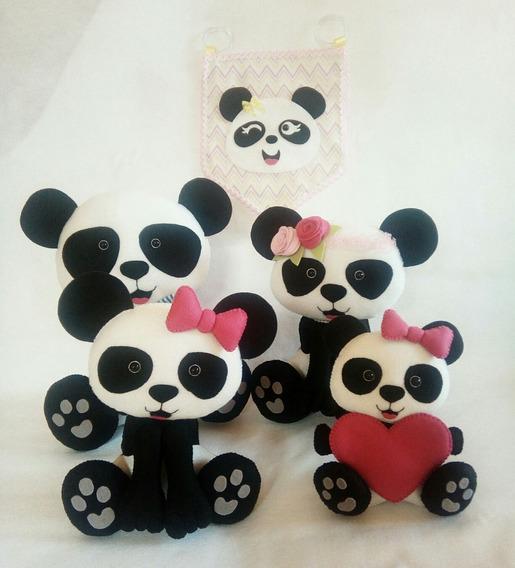Panda De Feltro - Urso De Feltro 4 Pandas - Barato Promoção!