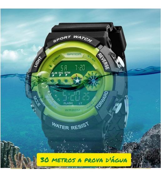 Relógio Pulso Digital Aço Inox Com Led