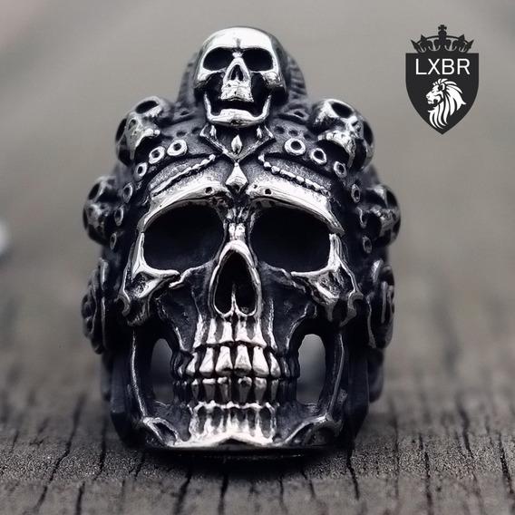 Anel Lançamento Aço Inox 316l Caveira Santa Madre Muerte Mexicana Diabo Lucifer Moto Metal Punk Olho Hip Hop Lxbr A195