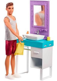 Muñeco Barbie Ken Set Afeitarse Y Baño Mattel