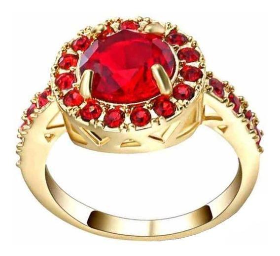 Anel Feminino Formatura Curso Pedra Rubi Vermelho 614