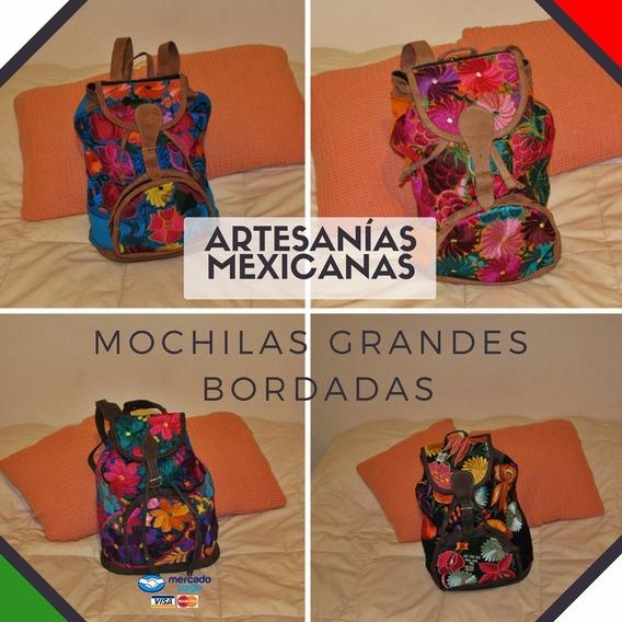 Mochilas Grandes Con Bordado Mexicano