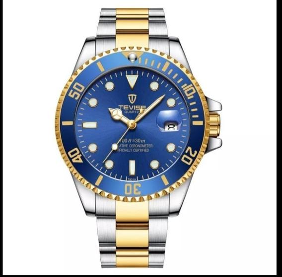 Relógio Masculino Original Tevise Quartzo Barato Luxo E.24