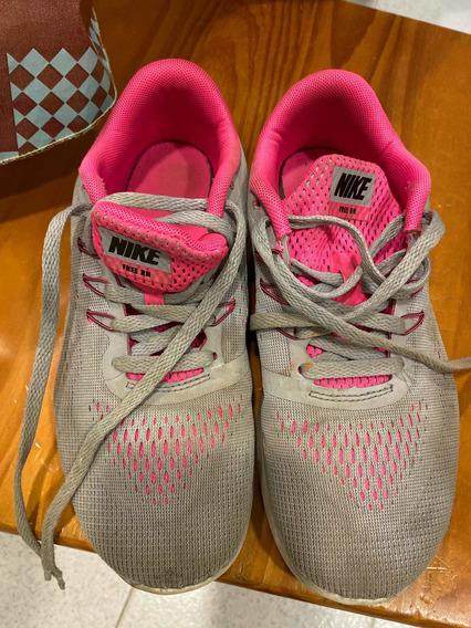 Tênis Nike Cinza E Rosa Tam 34 Pouco Uso Infantil 3,5 Y